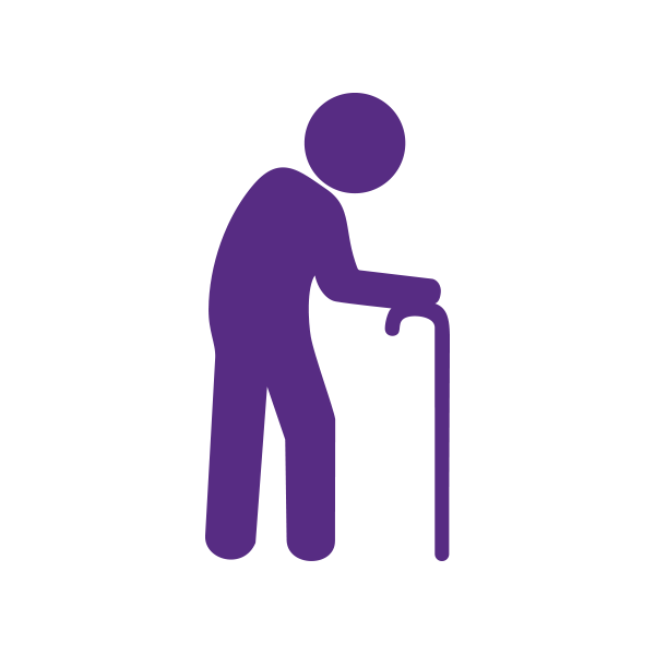 Image of person with walking cane representing aged care